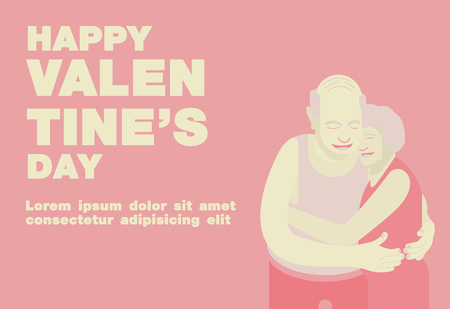 Poster, Flat banner or background for Happy Valentines day Senior Couple Theme - Vector flat design art Çizim