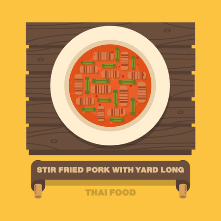 stir: Thailands national dishes,Stir fried Pork with Yard Long Bean - Vector flat design art Illustration