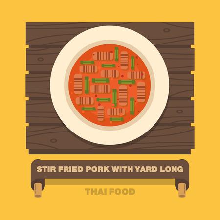 Thailands national dishes,Stir fried Pork with Yard Long Bean - Vector flat design art 向量圖像