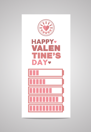 heart month: Greeting Card Valentines Day Battery Theme - Vector flat design art