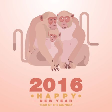 bao: Happy Chinese New Year 2016 Greeting Card Monkey Family Embracing Theme - Vector flat design art