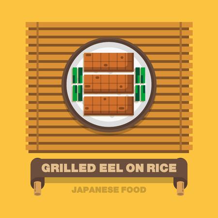 eel: Japans national dishes,Grilled Eel on Rice - Vector flat design art Illustration