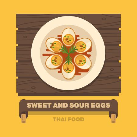 tamarindo: los platos nacionales de Tailandia, dulce y amargo Huevos - Vector arte diseño plano
