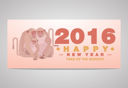 Happy Chinese New Year 2016 Greeting Card Monkey Family Embracing Theme - Vector flat design art