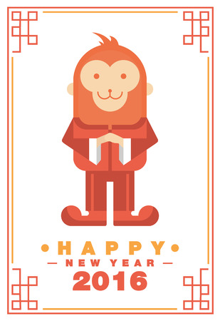 Happy Chinese New Year 2016 Greeting Card Monkey Costume Respect Posture - Vector flat design art Çizim