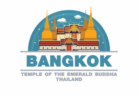 Temple of the emerald Buddha in Bangkok,Thailand Logo symbol flat design art 向量圖像