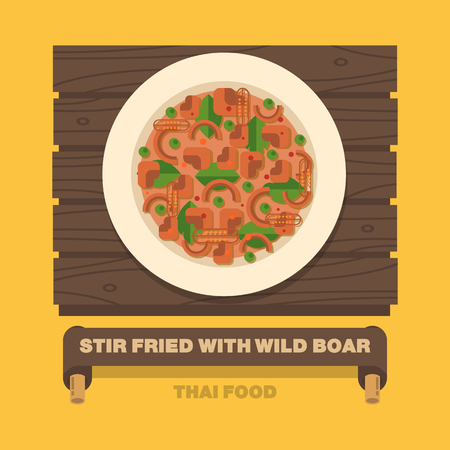 Thailands national dishes,Stir fried with Wild Boar Red curry - Vector flat design art 向量圖像