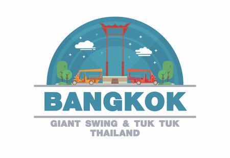 tuk tuk: The Giant Swing SAO CHING CHA of Bangkok and Tuk tuk,Thailand Logo symbol flat design art