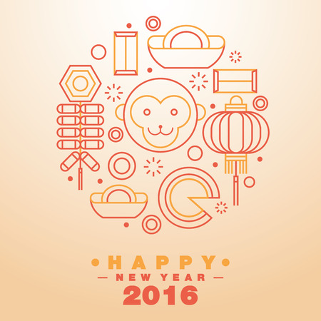 Happy Chinese New Year 2016 Greeting Card Icons Symbol - Vector flat line design art