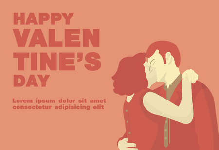 heart tone: Poster, Flat banner or background for Happy Valentines Day Kiss Couple Theme - Vector flat design art