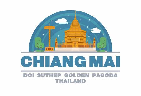 thai buddha: Chiang mai,Thailand symbol flat design art