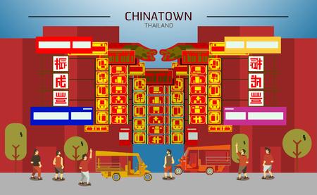 Chinatown en Tailandia, Bangkok con la gente y tuk-tuk arte diseño plano
