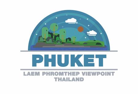 Phuket,Thailand symbol flat design art