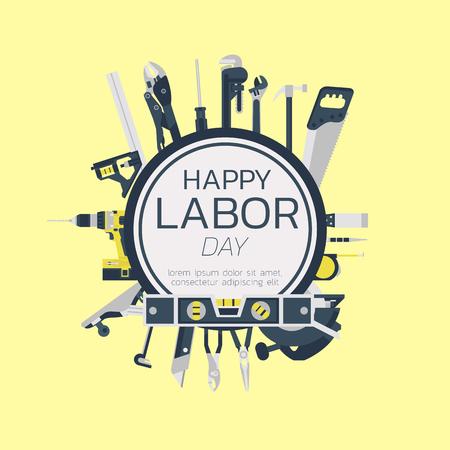 劳动节快乐贺卡概念插图在黄色的背景设计艺术