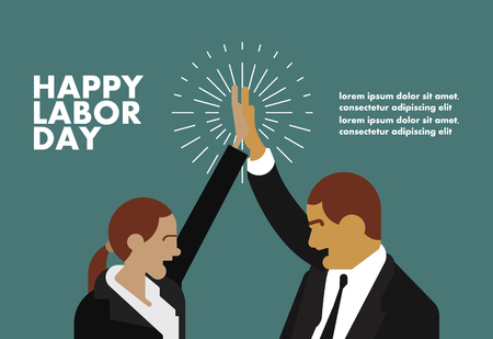 Happy labor day greeting card businessman concept illustration with hands design art Çizim