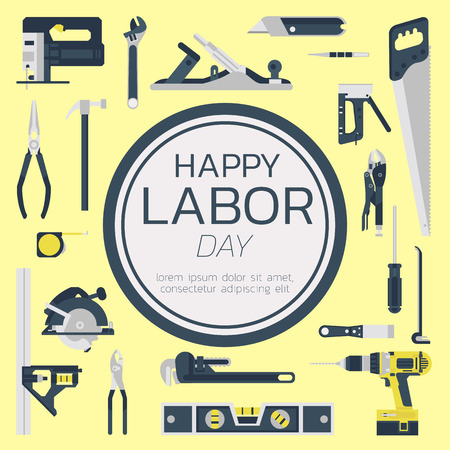 Happy labor day greeting card concept illustration on yellow background design art