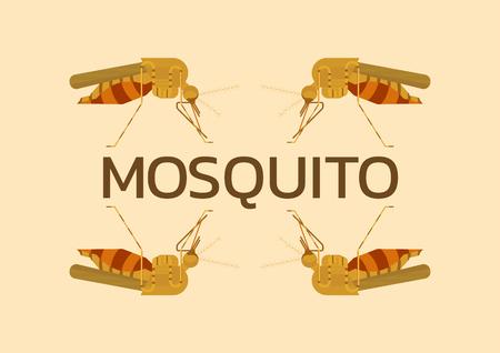 dengue: Mosquito Vintage  Illustration,Origin diseases such as dengue fever, zika disease,enchaphalitits flat art design Illustration