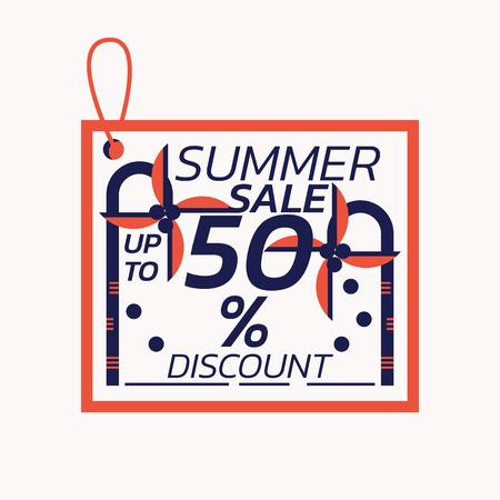 Summer Sale Label discount coconut theme - Illustration flat design art 向量圖像