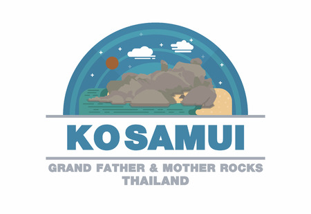 samui: Grand father and mother rocks of Ko Samui,Thailand symbol flat design art Illustration