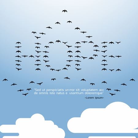 HOPE quote,All birds in the sky with cloud - flat illustration design art