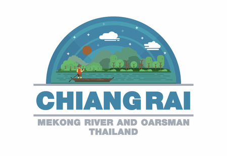 Mekong river and oarsman of Chiang Raii,Thailand symbol flat design art