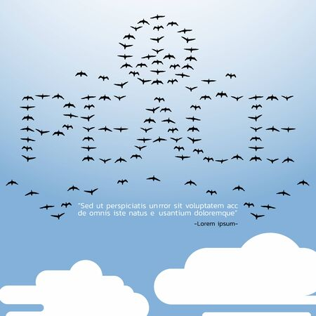 PEACE quote,All birds in the sky with cloud - flat illustration design art