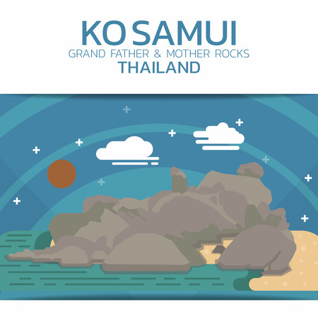 samui: Ko Samui Rocks Poster Brochure  design Layout template in Rectangle size design Illustration