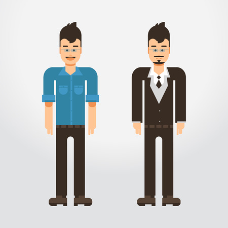 impersonal: Cool vector hipster man character. Confident adult man wearing glasses on shirt and suite. Urban citizen character design