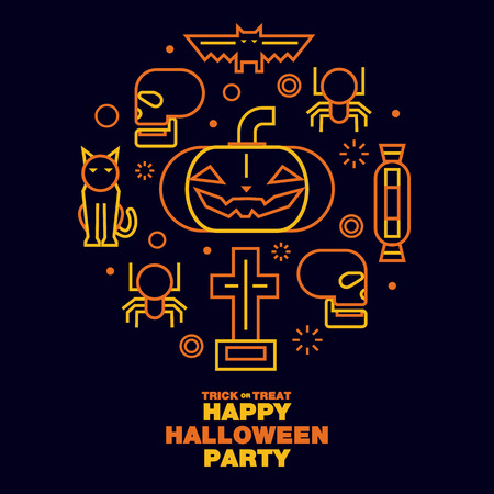 Happy Halloween Party Greeting Card Icons Symbol - Vector flat line design art Çizim