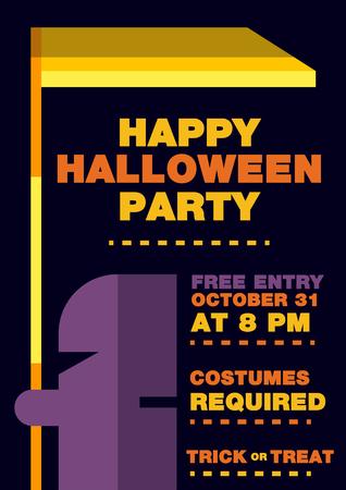 Halloween Invitation brochure, Messenger of death Theme. Illustration vector flat design art 向量圖像