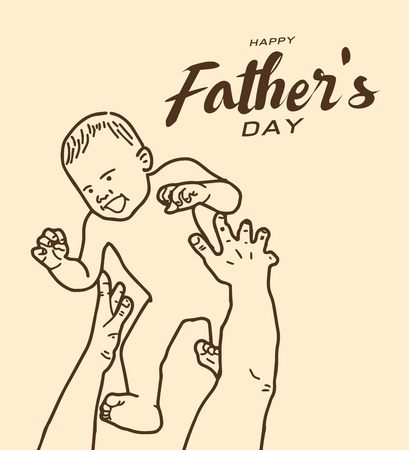 Happy fathers day greeting card, Brown tone line design art 向量圖像