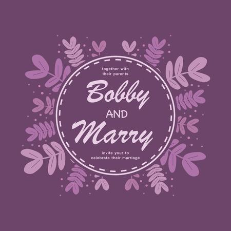 Elegant purple leaves wedding invitation card template.Vector illustration design