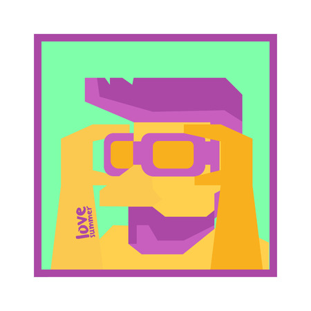 Half man ready to swim,wearing goggle,Vector illustration design 向量圖像