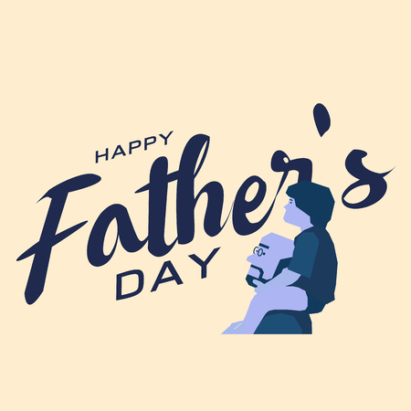 Happy fathers day greeting card, Blue tone design art