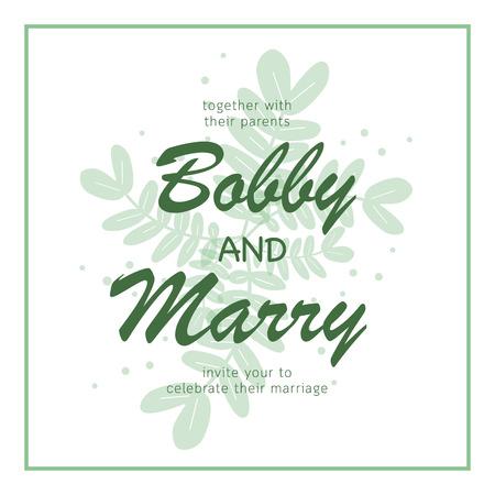 Elegant green leaves wedding invitation card template.Vector illustration design 向量圖像