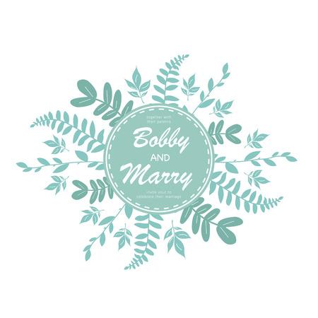 Elegant blue leaves wedding invitation card template.Vector illustration design