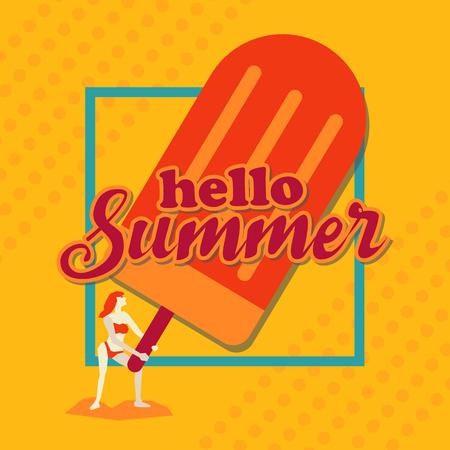 Hello summer,Woman with Ice cream and border, Orange tone design art 向量圖像