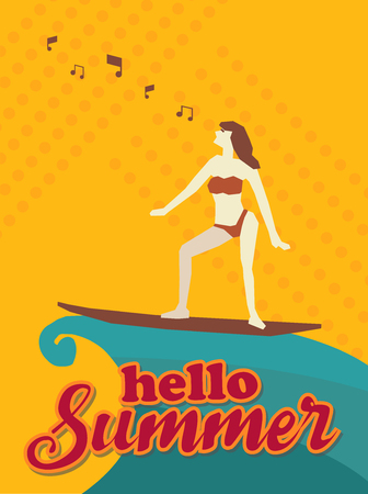 Hello summer,Woman with Surfboard and music, Orange tone design art