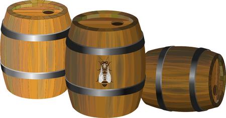 Set of three wooden vector barrels Illustration