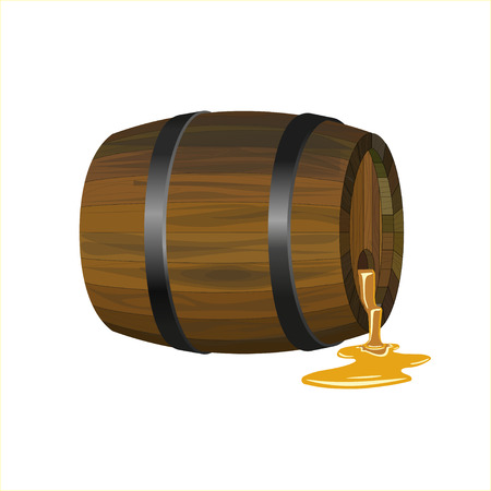 Wooden barrel with puddle of honey, vector Illustration