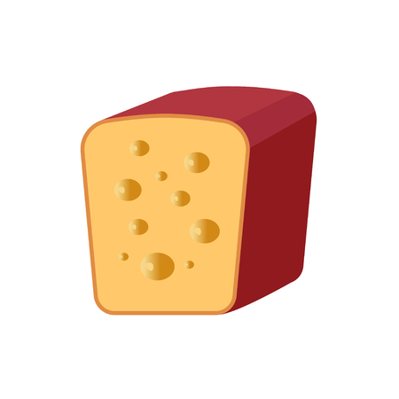 produced: Cheese with holes cut in half on a white background