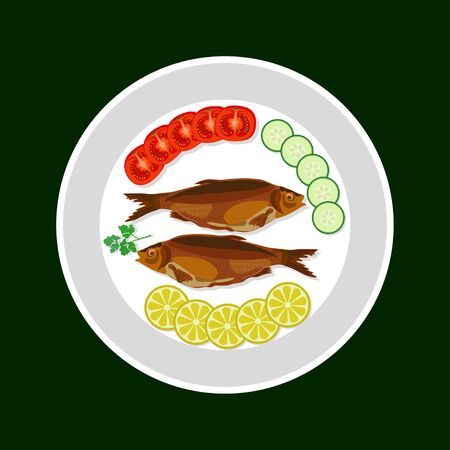 Coked fish with vegetables on a plate Illustration