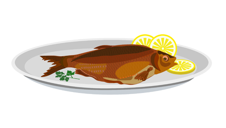 Fried fish and lemon on a plate