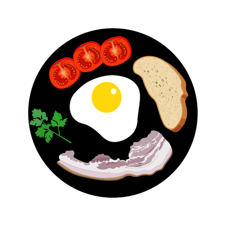 bacon and eggs: Breakfast on a plate. Vector illustration Illustration
