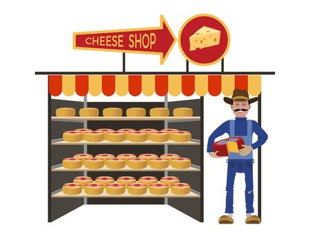 Cheese shop with seller. Vector illustration Ilustração Vetorial