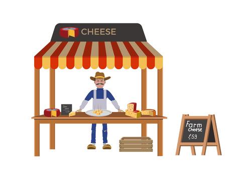 Farmer selling cheese. Vector illustration