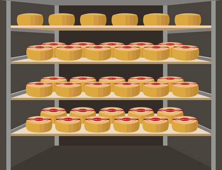 Shelves with cheese. Vector illustration