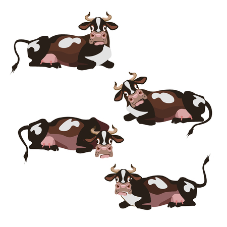 Set of vector lying cows in different positions Stock Illustratie