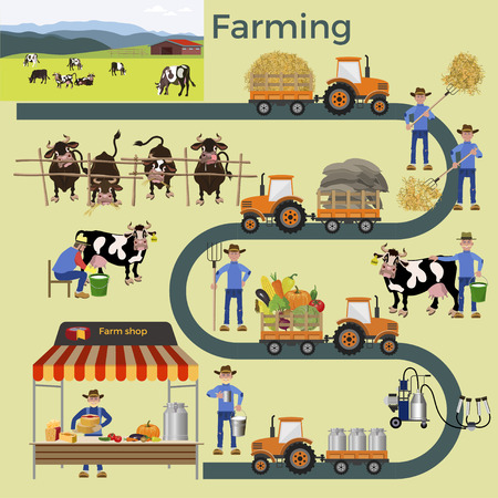 Agriculture and farming. Collection of vector illustrations for infographics Vectores