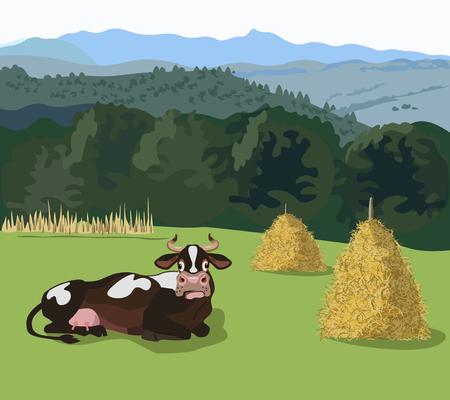 Mountain landscape with meadow and cartoon cow
